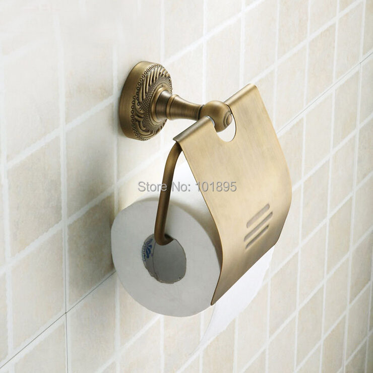 Creative Wall Mounted Brass Toilet Paper Holder Antique