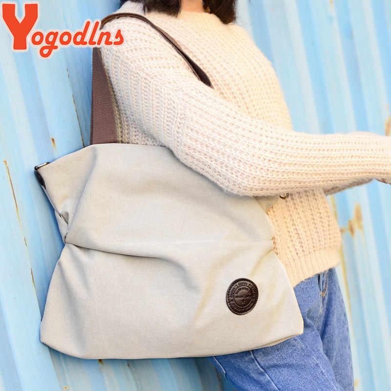 Yogodlns kadın kadife tuval Tote bayanlar rahat omuzdan askili çanta katlanabilir tekrar kullanılabilir alışveriş poşetleri plaj çantası kadın pamuklu bez çanta