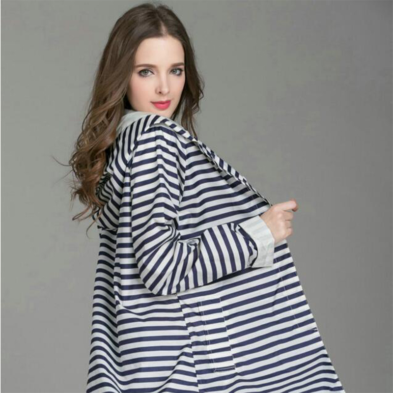 Fashion Stripe Raincoat Waterproof Long Poncho Polyester with pvc 2017 New Arrival Fashion Rainwear Japanese Style Rain Cover