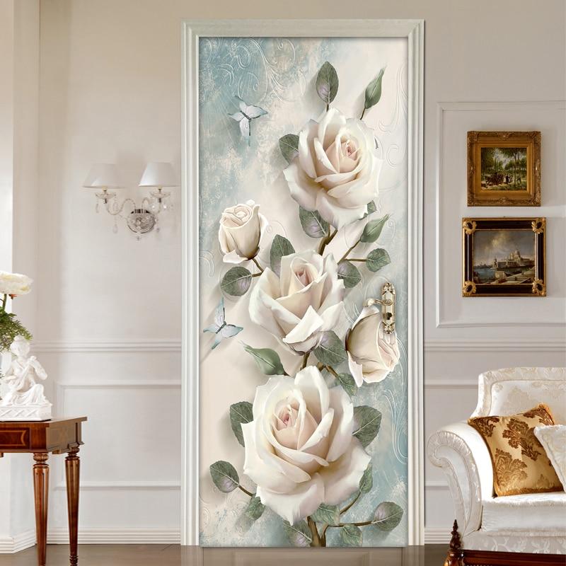 Creative 3D Flowers Door Sticker Home Decor Wall Decals DIY Self Adhesive Door Wallpaper PVC Waterproof Mural Bedroom Decoration