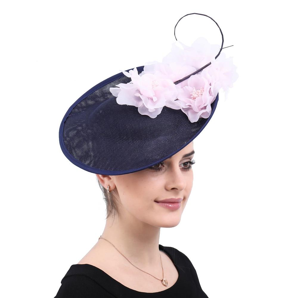 Vintage Big Hair Fascinators For Kenducky Derby Church Hats Elegant Women Fedora Fancy Pink Silk Flower Headwear 2019 New SYF540