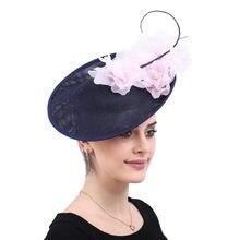 f52742d78da821 Vintage große haar fascinators für kenducky derby kirche hüte elegante  frauen fedora phantasie rosa seide blume