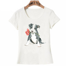 1e412969b3 Novas Mulheres Verão Camiseta Valentine Subiu Pit Bull Dog Hip Hop T-Shirt  Mini Boston