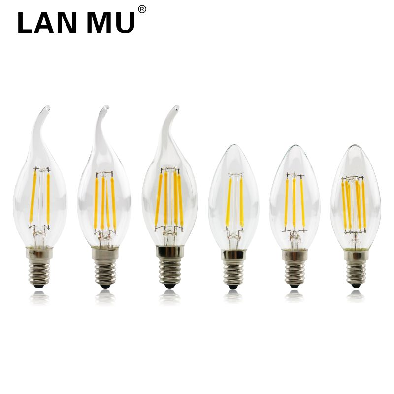 LED Bulb E14 2W 4W 6W AC 220V 230V 240V C35 Glass shell 360 Degree vintage LED candle light C35L edison LED Filament lamp