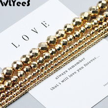 WLYeeS Faceted Round Hematite beads 14 Gold plating natural stone 2 4 6 8 10mm charm Loose Beads for Jewelry Bracelet Making DIY
