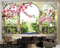 Beibehang 3D Fashion Classic Wall Paper Three Dimensional Peach Blossom Landscape European Style Garden Painting 3d