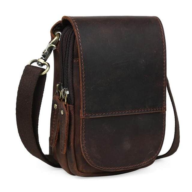 Tiding Leather Waist Pack For Cell Phone Pouch Simple Case Mini Messenger Bag 3150