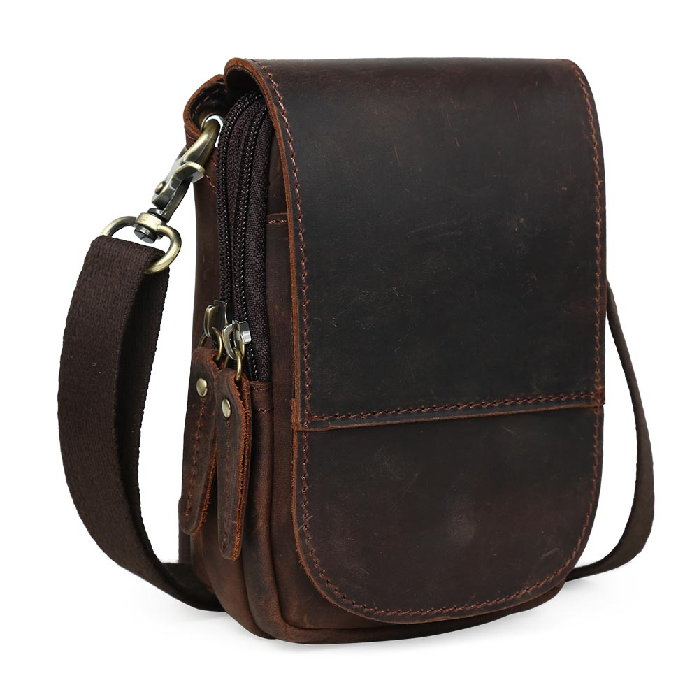 Tiding Leather Waist fanny Pack For Cell Phone Pouch Simple Case Mini Messenger Bag 3150