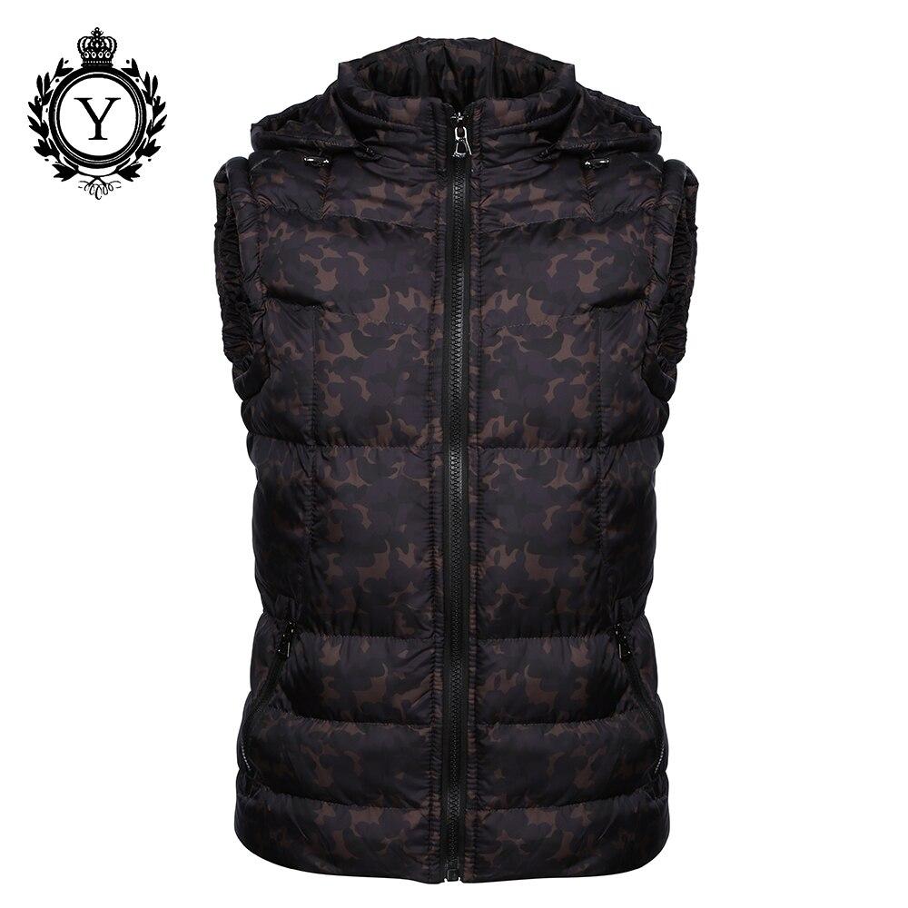 COUTUDI 2019 Men's Clothing Winter Vest Jackets Black Camouflage Hoody Sleeveless Jacket Coat Warm Printed Cotton Down Vest Coat