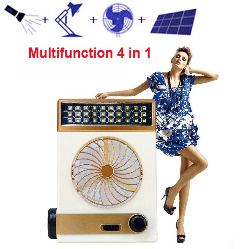 Где купить A, новый многофункциональный солнечный вентилятор со светодиодной лампой для дома на открытом воздухе Usb/солнечный вентилятор для кемпинга маленький портативный Ac110v-240v
