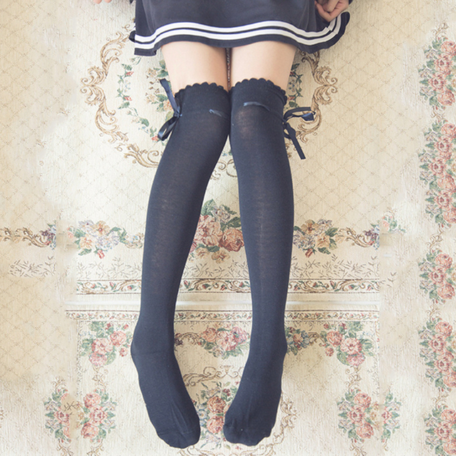 74b0744813a Women girl cute lovely kawaii Ribbon Bow Boot Socks Thigh-High Over Knee Thigh  High Long Socks
