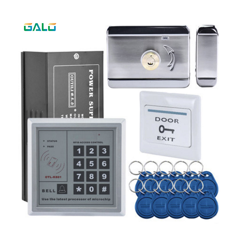 RFID ACCESS CONTROL,Electronic Security Entry woden steel Electric Gate Door rim lock kit with Exit Button Exit Switch exit wound