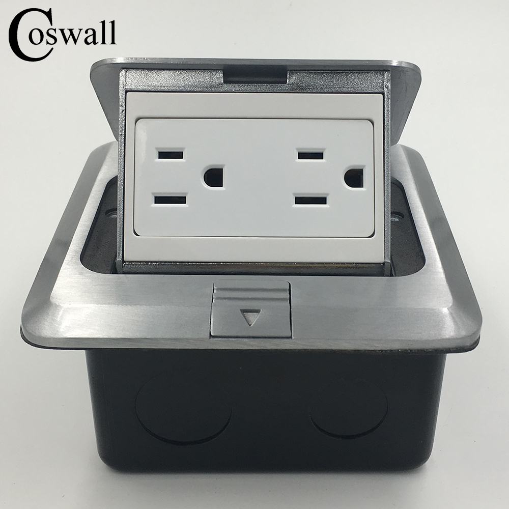 Coswall Manufacturer All Aluminum Silver Panel Pop Up Floor Socket US Standard Double Power Outlet 120mm*120mm ls601 silver multifuction outlet power