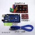 ! Mega 2560 R3 + 1 pcs RAMPS 1.4 Controlador + 4 pcs A4988 Módulo de Driver de passo para 3D kit de Impressora Reprap MendelPrusa Frete Grátis