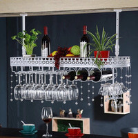 Hang red wine rack. Household glass frame. Hangs goblet.