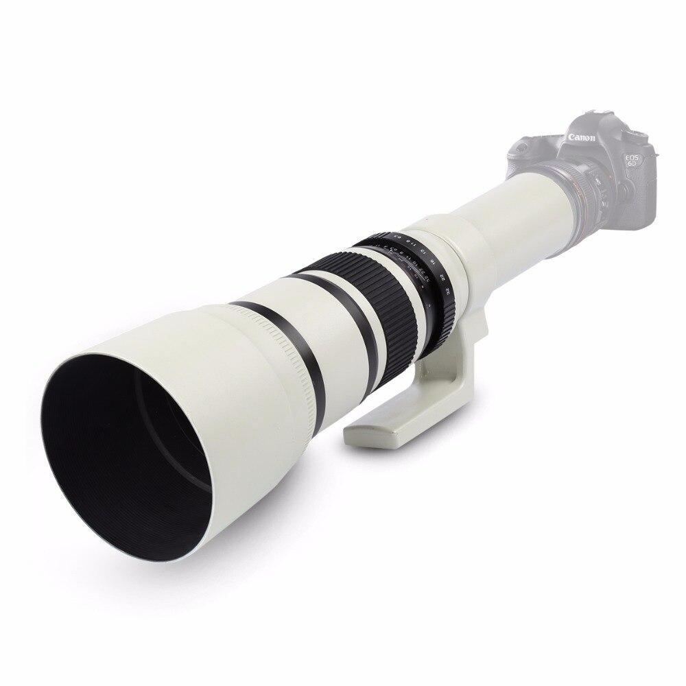 Blanc 500mm F/6.3 Téléobjectif Fixe Premier Téléobjectif + T2 Bague D'adaptation D'objectif pour Canon Nikon Sony Pentax DSLR Caméras
