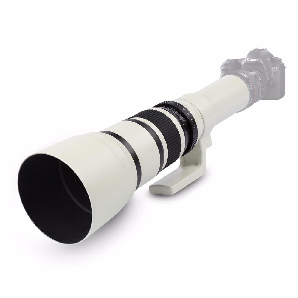 Balts 500mm F / 6.3 telefoto fiksētais telefoto objektīvs + T2 objektīva adaptera gredzens Canon Nikon Sony Pentax DSLR fotokamerām