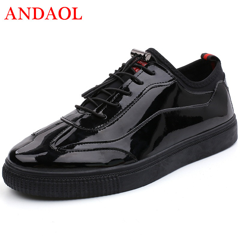 ANDAOL Men 39 s Leather Casual Shoes Fashion Non Slip Lace Up Student Casual Trainers Luxury Brand Black Campus Sneakers Zapatos in Men 39 s Casual Shoes from Shoes