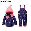 Bebé niñas niños ropa de invierno espesar conjunto Adecuado 10-24 meses pluma de down nieve desgaste overoles niño bebé chaqueta abajo y parkas