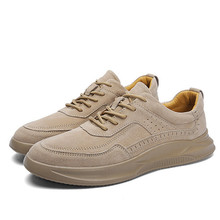 2019 Retro Men's Leather Tennis Shoes Fashion flat Casual Shoes Breathable Men's Sports Shoes Outdoor Non-slip Hiking Shoes Men men stylish outdoor anti slip leather sports casual shoes