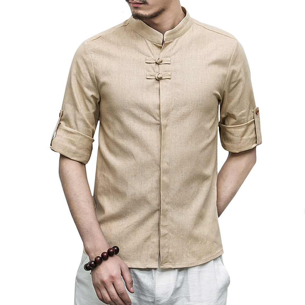 Solid color Cotton Linen shirts male Casual Chinese style retro Mens 7 points sleeve shi ...