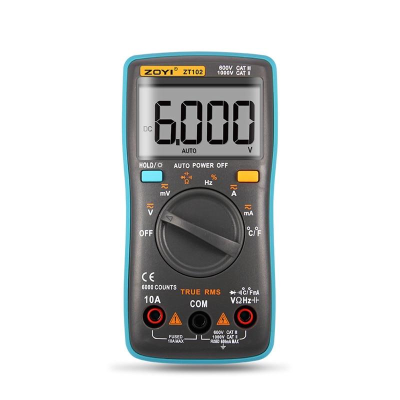 ZOYI ZT101 ZT102 Digital Auto Range Portable Multimeter 6000 Counts Backlight Ammeter Voltmeter Ohm English/Russian User Manual