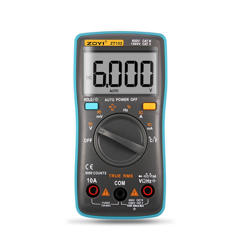 ZT101 ZT102 Digital Automatic Range Multimeter 6000 counts Backlight AC/DC Ammeter Voltmeter Ohm Portable Meter voltage meter zoyi 6000 counts high precision digital multimeter measuremen autoranging lcd display low voltage ac dc ohm measurement tool