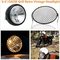 "6.4""/16CM 12V 35W Grill Retro Vintage Motorcycle Side Mount Headlight and Mask cover Cafe Racer Bobber Old School"