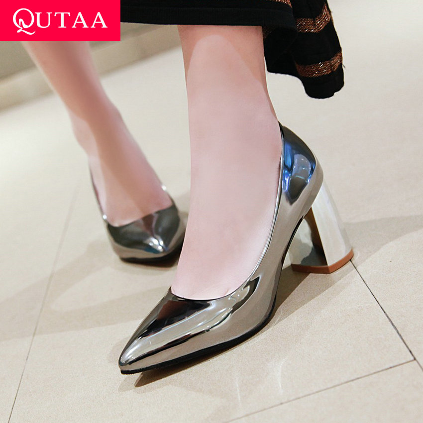 QUTAA 2019 Women Pumps Leisure Mirror topped PU Leather Coarse heeled Pointed Toe Basic Slip on