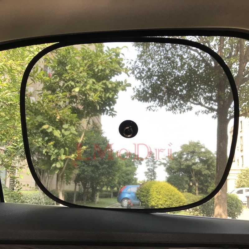 LMoDri 2 pièces Voiture Rideaux Pare-Soleil Bloqueur UV Noir Maille pare-Soleil Pour La Face avant et Arrière Automatique De Fenêtre Style Ventouse 44*34 cm
