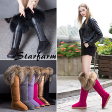 STARFARM ugs women australia winter snow boots fox fur genuine leather woman ladies knee high boots flat or wedge withinSFWB032
