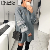MissyChilli Pearl fur long knitted christmas sweater Women long sleeve autumn winter sweater dress Loose casual sexy jumper