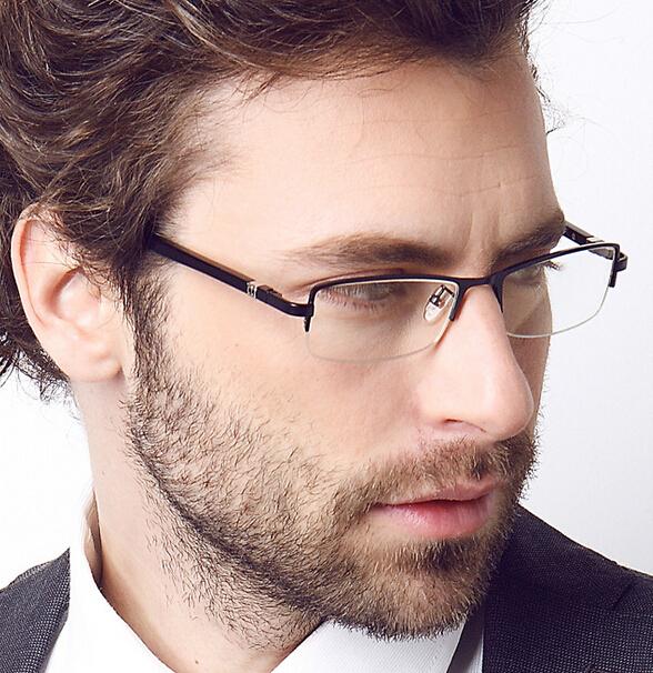 De alta qualidade da marca uv 400 óculos dos homens fio memória titanium óculos frames de vidro liso óculos armação