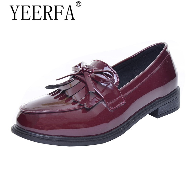 YEERFA Fringe Bowtie Women Oxfords 2017 New Autumn Slip on Solid Shoes PU Leather Student Casual Daily Woman Shoes size 35-39 p kennedy kennedy a guide to econometrics 2ed paper