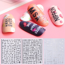 1pc 3d Adhesive Decals Nail Art Sticker Letters Black White Silver Label DIY Nail Decoration Slider Transfer Tips SACB122-124