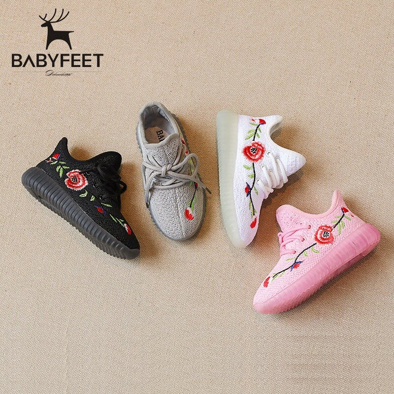 2017 Babyfeet Children kids shoes embroidery flowers baby Girl and Boy Sneakers tenis infantil chaussure enfant calzado infantil
