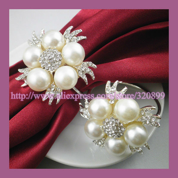 Wholesale!120pcs lot Pearl Rhinestone Wedding Pearl Napkin Rings ... 06f0a5d6226d