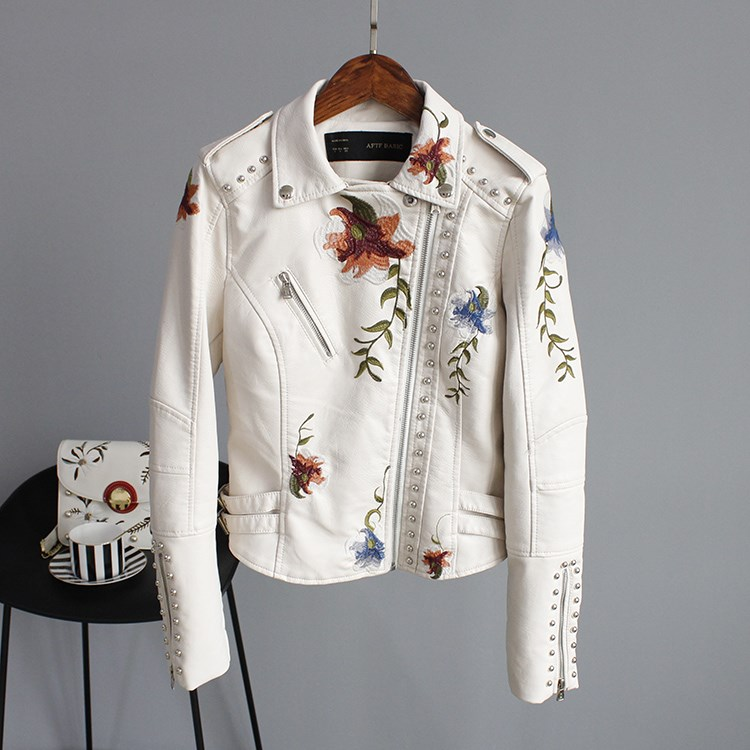 2019 Faux Soft   Leather   Jacket Coat Turn-down Collar Casual Pu Motorcycle Black Punk Outerwear Women Floral Print Embroidery