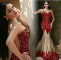 New Red Long Prom Dresses 2017 O-Neck Sleeveless Floor Length Illusion Back Appliques Tulle Evening Dress Robe de soiree longue