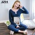 JZH Venta Caliente Pijamas de Las Mujeres ropa de Noche Atractiva Traje de Encaje de Algodón camisa de Dormir Ropa de Hogar de Manga Larga Del O-cuello Delgado Ocasional Ropa de Dormir
