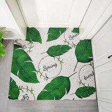 Entrance door mat Door carpet Nordic style Can be cut DIY PVC wire ring Ins Geometric leaves non-slip floor