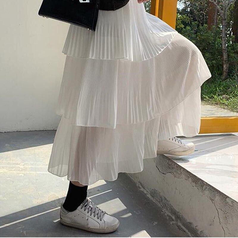 Korean streetwear maxi skirt spring women clothes 2019 harajuku plus size skirts Pleated Skirt elastic high waist kawaii skirt