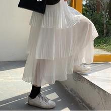 Korean streetwear maxi skirt spring women clothes 2019 harajuku plus size skirts Pleated Skirt elastic high waist kawaii