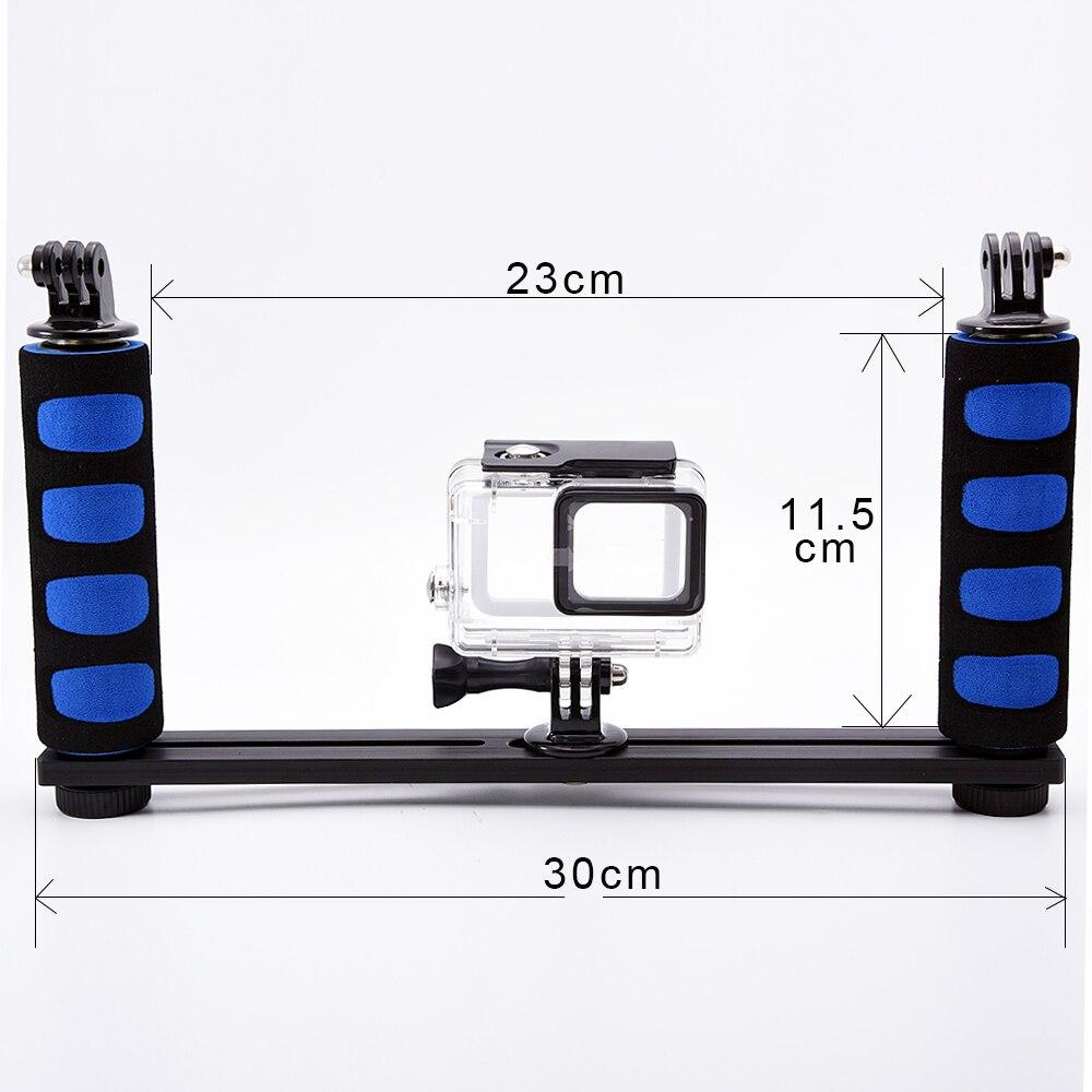 Deux mains plateau en aluminium pour sous-marine boîtier de la caméra pour gopro hero caméra stabilisateur grip bras pour sony xiaoyi d'action caméra