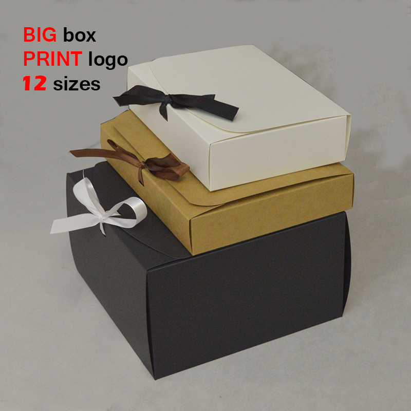 10pcs 12 Size Kraft Gift Box Large Paper Box For Packaging White Black Birthday Favors Boxes With Ribbon Large Gift Paper Box