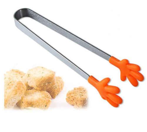 Moda Silicone Culinária Cozinha de Aço Inoxidável Ice Tong Alimentos CHURRASCO Salada Clipe Mão
