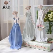 ceramic sister girls lady figurines home decor crafts room decoration handicraft ornament porcelain figurines vintage statue