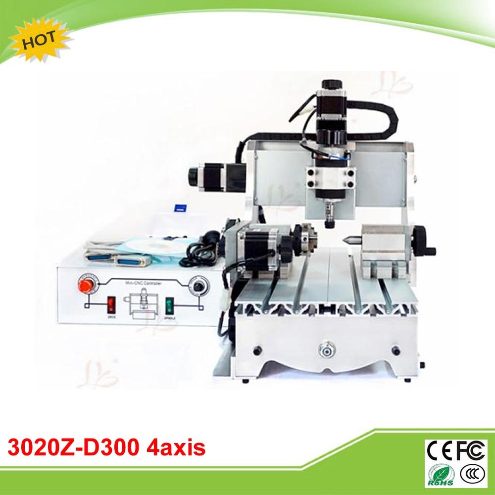 CNC 3020Z-D300 4 axis ball screw mini CNC milling machine free tax to RU 6040z d300 3axis mini cnc milling machine lathe ball screw 300w spindle free tax to ru