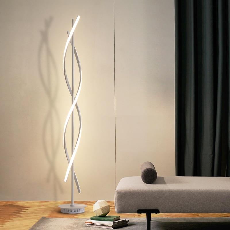 Nordic Style Led Spiral Floor Lamp Bedroom Decor Lights Vertical Standing Lamps For Living Room Lampara De Pie
