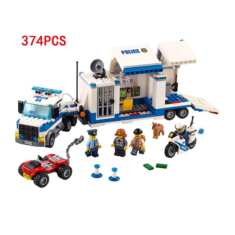 New city super police Mobile Command Center Vehicle building block mini policeman Thief figures cars bricks 60139 toys mobile work center